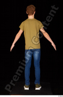 Matthew blue jeans brown t shirt casual dressed green sneakers standing whole body 0013.jpg