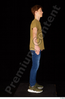 Matthew blue jeans brown t shirt casual dressed green sneakers standing whole body 0015.jpg