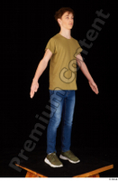 Matthew blue jeans brown t shirt casual dressed green sneakers standing whole body 0016.jpg