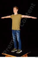 Matthew blue jeans brown t shirt casual dressed green sneakers standing t poses whole body 0002.jpg