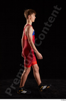 Matthew  1 dressed greece wrestling shoes greece wrestling singlet side view walking whole body 0004.jpg