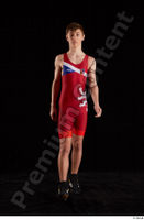Matthew  1 dressed front view greece wrestling shoes greece wrestling singlet walking whole body 0001.jpg