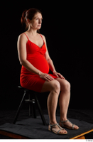 Charity 2  1 dressed red dress silver sandals sitting whole body 0006.jpg