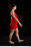 Charity 2  1 dressed red dress side view silver sandals walking whole body 0004.jpg