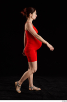 Charity 2  1 dressed red dress side view silver sandals walking whole body 0005.jpg