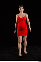 Charity 2  1 dressed front view red dress silver sandals walking whole body 0001.jpg