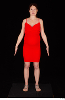 Charity 2 casual dressed red dress silver sandals standing whole body 0001.jpg
