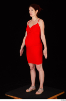Charity 2 casual dressed red dress silver sandals standing whole body 0002.jpg