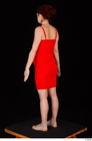 Charity 2 casual dressed red dress silver sandals standing whole body 0004.jpg