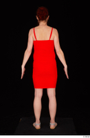 Charity 2 casual dressed red dress silver sandals standing whole body 0005.jpg