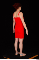 Charity 2 casual dressed red dress silver sandals standing whole body 0006.jpg