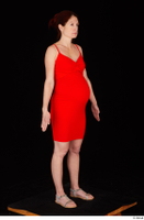 Charity 2 casual dressed red dress silver sandals standing whole body 0008.jpg