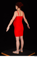 Charity 2 casual dressed red dress silver sandals standing whole body 0012.jpg