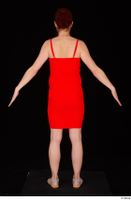 Charity 2 casual dressed red dress silver sandals standing whole body 0013.jpg