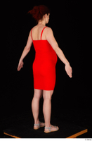 Charity 2 casual dressed red dress silver sandals standing whole body 0014.jpg