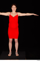 Charity 2 casual dressed red dress silver sandals standing t poses whole body 0001.jpg