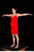 Charity 2 casual dressed red dress silver sandals standing t poses whole body 0002.jpg