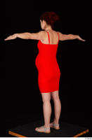 Charity 2 casual dressed red dress silver sandals standing t poses whole body 0004.jpg
