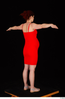 Charity 2 casual dressed red dress silver sandals standing t poses whole body 0006.jpg