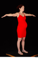 Charity 2 casual dressed red dress silver sandals standing t poses whole body 0008.jpg