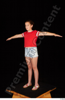 Ruby dressed flip flop jeans shorts red t shirt standing t poses whole body 0002.jpg