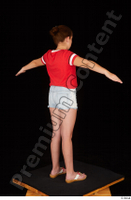 Ruby dressed flip flop jeans shorts red t shirt standing t poses whole body 0006.jpg