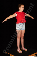 Ruby dressed flip flop jeans shorts red t shirt standing t poses whole body 0008.jpg