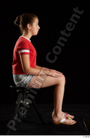 Ruby  1 dressed flip flop jeans shorts red t shirt sitting whole body 0005.jpg