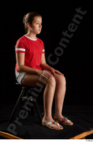 Ruby  1 dressed flip flop jeans shorts red t shirt sitting whole body 0006.jpg