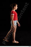 Ruby  1 dressed flip flop jeans shorts red t shirt side view walking whole body 0002.jpg