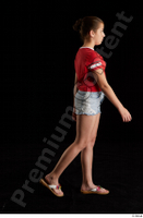 Ruby  1 dressed flip flop jeans shorts red t shirt side view walking whole body 0005.jpg