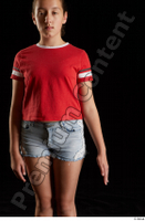 Ruby  1 arm dressed flexing front view red t shirt 0001.jpg