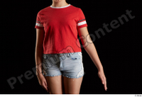 Ruby  1 arm dressed flexing front view red t shirt 0002.jpg