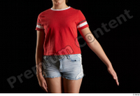 Ruby  1 arm dressed flexing front view red t shirt 0003.jpg