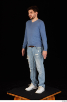 Hamza blue jeans blue sweatshirt dressed standing white sneakers whole body 0002.jpg