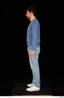 Hamza blue jeans blue sweatshirt dressed standing white sneakers whole body 0003.jpg