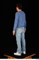 Hamza blue jeans blue sweatshirt dressed standing white sneakers whole body 0004.jpg
