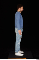 Hamza blue jeans blue sweatshirt dressed standing white sneakers whole body 0007.jpg