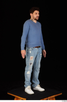 Hamza blue jeans blue sweatshirt dressed standing white sneakers whole body 0008.jpg
