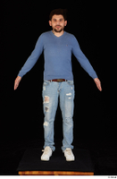 Hamza blue jeans blue sweatshirt dressed standing white sneakers whole body 0009.jpg