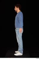 Hamza blue jeans blue sweatshirt dressed standing white sneakers whole body 0011.jpg
