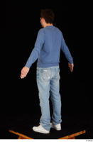 Hamza blue jeans blue sweatshirt dressed standing white sneakers whole body 0012.jpg