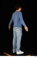 Hamza blue jeans blue sweatshirt dressed standing white sneakers whole body 0014.jpg