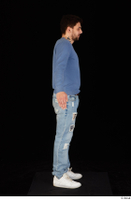 Hamza blue jeans blue sweatshirt dressed standing white sneakers whole body 0015.jpg