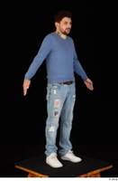 Hamza blue jeans blue sweatshirt dressed standing white sneakers whole body 0016.jpg