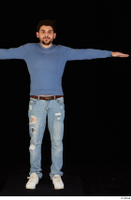 Hamza blue jeans blue sweatshirt dressed standing t poses white sneakers whole body 0001.jpg