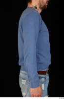 Hamza arm blue sweatshirt dressed upper body 0006.jpg