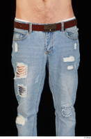 Hamza blue jeans brown belt dressed hips thigh 0001.jpg