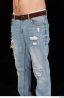 Hamza blue jeans brown belt dressed hips thigh 0002.jpg