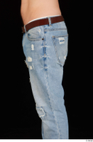 Hamza blue jeans brown belt buttock dressed hips thigh 0001.jpg